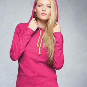 Ladies' Lightweight Long Sleeve Hooded T-Shirt Thumbnail