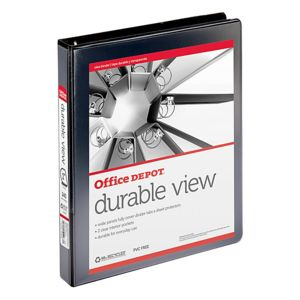 Office Depot Brand Durable View Slant-Ring Binder, 1in Rings, 39% Recycled, Black Thumbnail