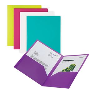 Office Depot Brand 2-Pocket Poly Fashion Portfolios, 8 1/2in x 11in, Assorted Colors, Pack Of 5 Thumbnail