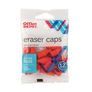 Office Depot Brand Eraser Caps, Red, Pack Of 12 Thumbnail