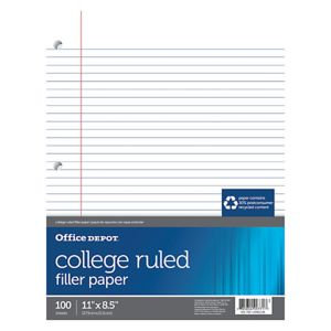 Office Depot Brand College-Ruled Notebook Filler Paper, 3-Hole Punched, 11in x 8 1/2in, 100 Sheets Thumbnail