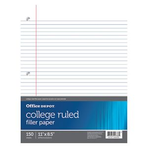 Office Depot Brand Notebook Filler Paper, College-Ruled, 8 1/2in x 11in, 3-Hole Punched, White, Pack Thumbnail