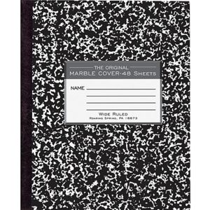 Roaring Spring Tape Bound Composition Notebook, 8 1/2in x 7in, 48 Sheets, Black Marble Thumbnail